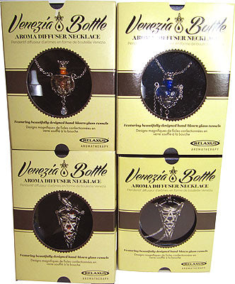 All 4 types of Venezia Bottle necklaces shown in their packages