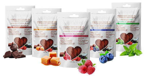 all five types of Auraluv Superfood Healthy Hot Chocolate