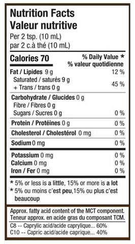 Nutritional label for 52 Fields Coconut Oil With MCT