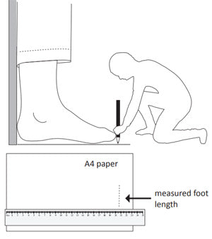kybun's recommended foot measuring method