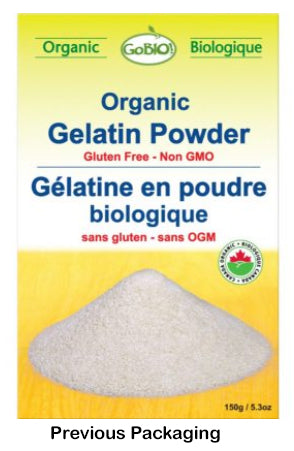 previous packaging for 150 g box of GoBIO! Unflavoured Organic Gelatin Powder