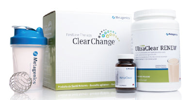 Contents of Metagenics Clear Change 10 Day Program kit box