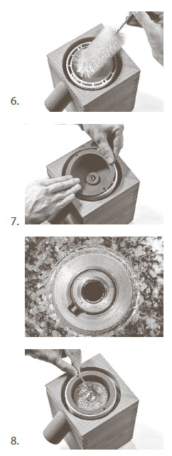 Steps 6 through 8 of installing the KoMo interchangeable mill chamber