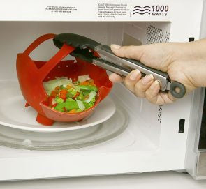 Removing a Norpro Silicone Steamer Basket from microwave
