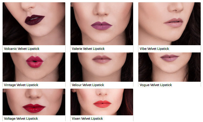 The 8 Shades of Tin Feather Velvet Lipsticks, shown applied to three models