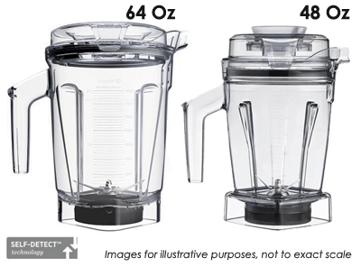 Labeled image of Vitamix Ascent 48 & 64 ounce containers next to each other