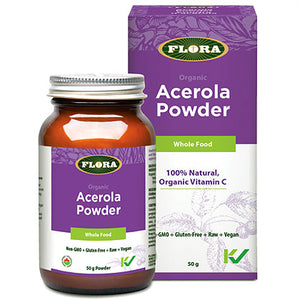 a bottle of Flora Organic Acerola Powder next to its package