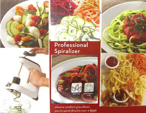 Examples of Dishes to make with Professional Spiralizer and showing it in use above a bowl
