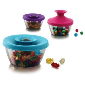 Three colours of Vacu Vin PopSome Candy and Nuts containers