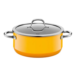 Silit 24cm Diameter Passion Low Casserole Pot, Crazy Yellow