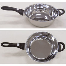 3.4 quart capacity Cybernox Saucier pan, top and side views