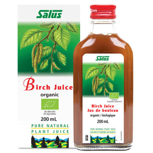 a bottle of Salus Birch Juice next to its package