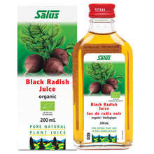 Load image into Gallery viewer, a bottle of Salus Black Radish Juice next to its package