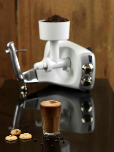 A caffeinated beverage prepared with the help of the Ankarsrum Assistent Flour and Coffee Grinder