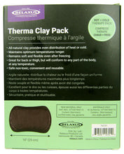 Reverse side of 10-inch Wide Therma Clay Pack box