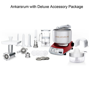 An Ankarsrum Assistent with Red case plus Deluxe Package Accessories (not to scale)