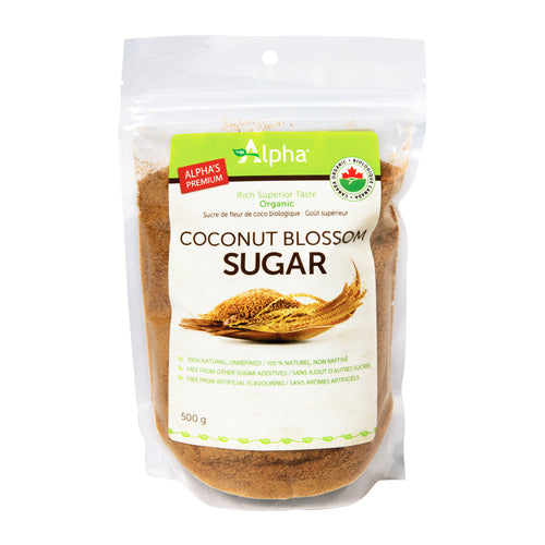 Alpha Organic Coconut Sugar, with bilingual label