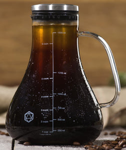 An Arctic Cold Brew System shown filled with brewed coffee, with beads of condensation on the surface