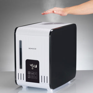 Boneco S450 Steam Humidifier emitting mist not too hot for a hand
