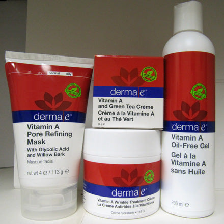 4 different types of Derma E Vitamin A Anti-Wrinkle skin care products