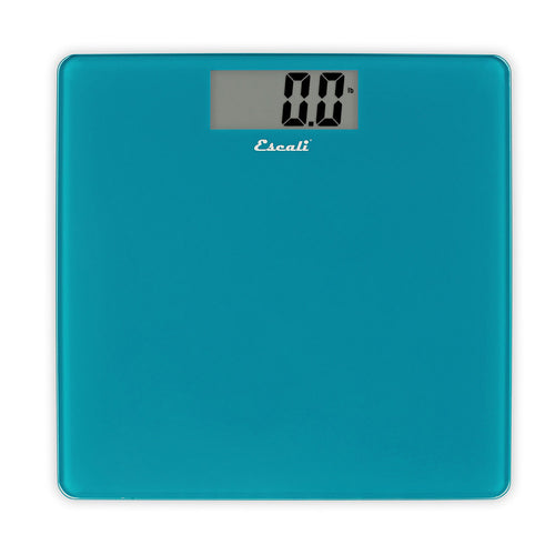 Escali B200 Glass Square Platform Bathroom Scale, Peacock Blue