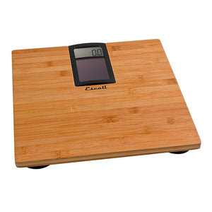 Escali Model Eco180 Digital Scale with Bamboo Platform, angled view