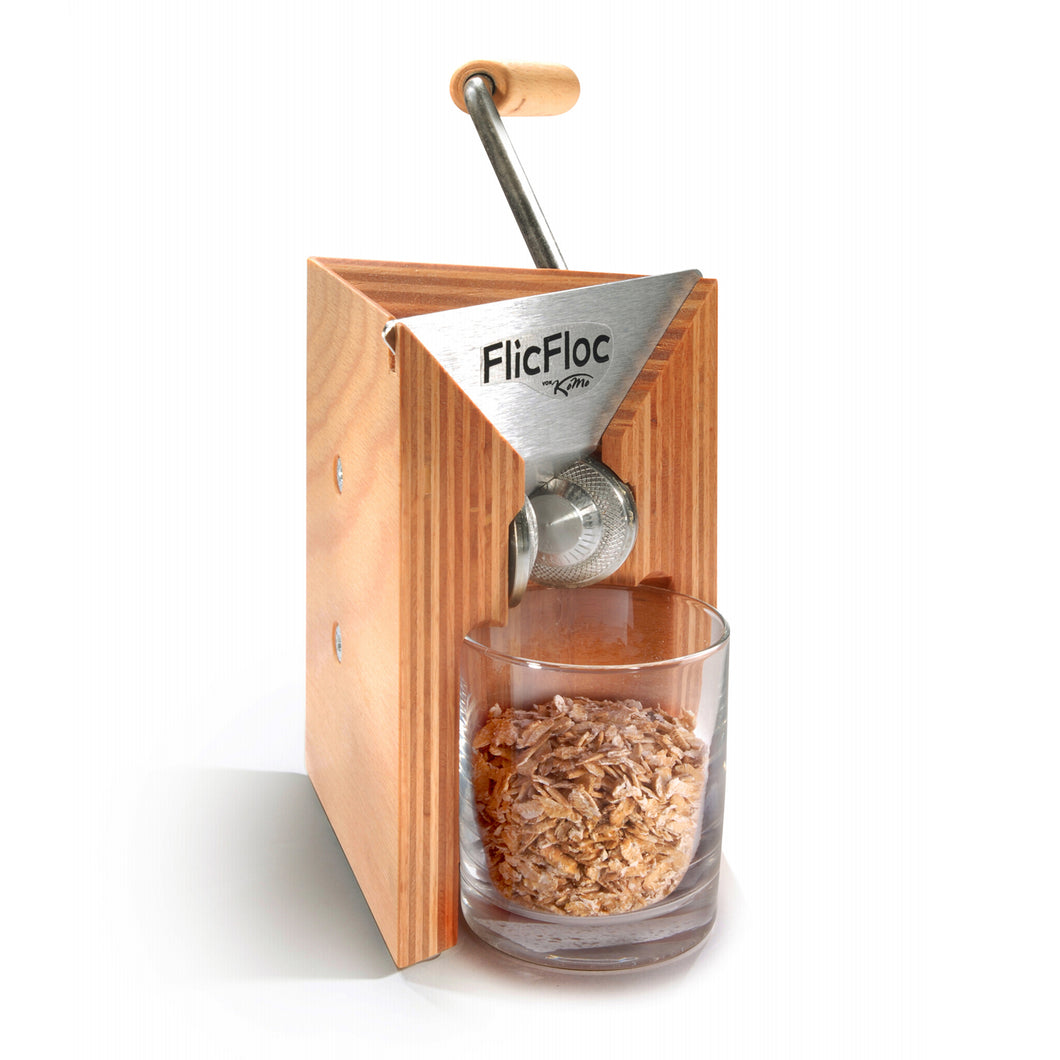 KoMo FlicFloc Flaker with glass receptacle in place