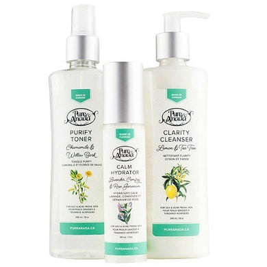 Bottles of Pure Anada Purify Toner, Calm Hydrator and Clarity Cleanser