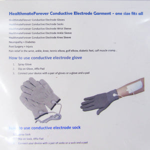 Package Directions for Healthmate Forever Silver Conductive Gloves and Socks