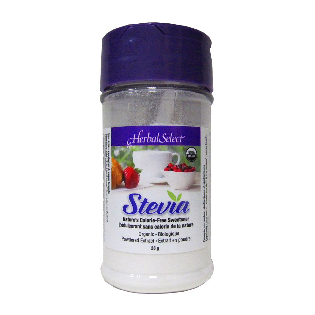 28g Shaker of Herbal Select Organic Stevia Powder