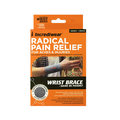 Package for Grey Incrediwear Wrist Brace