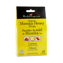 Load image into Gallery viewer, Wedderspoon Organic Manuka Honey Drops, with Lemon & Bee Proplis