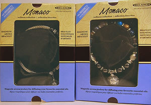 Both styles of Relaxus Monaco Magnetic Aroma Bracelets in their packages