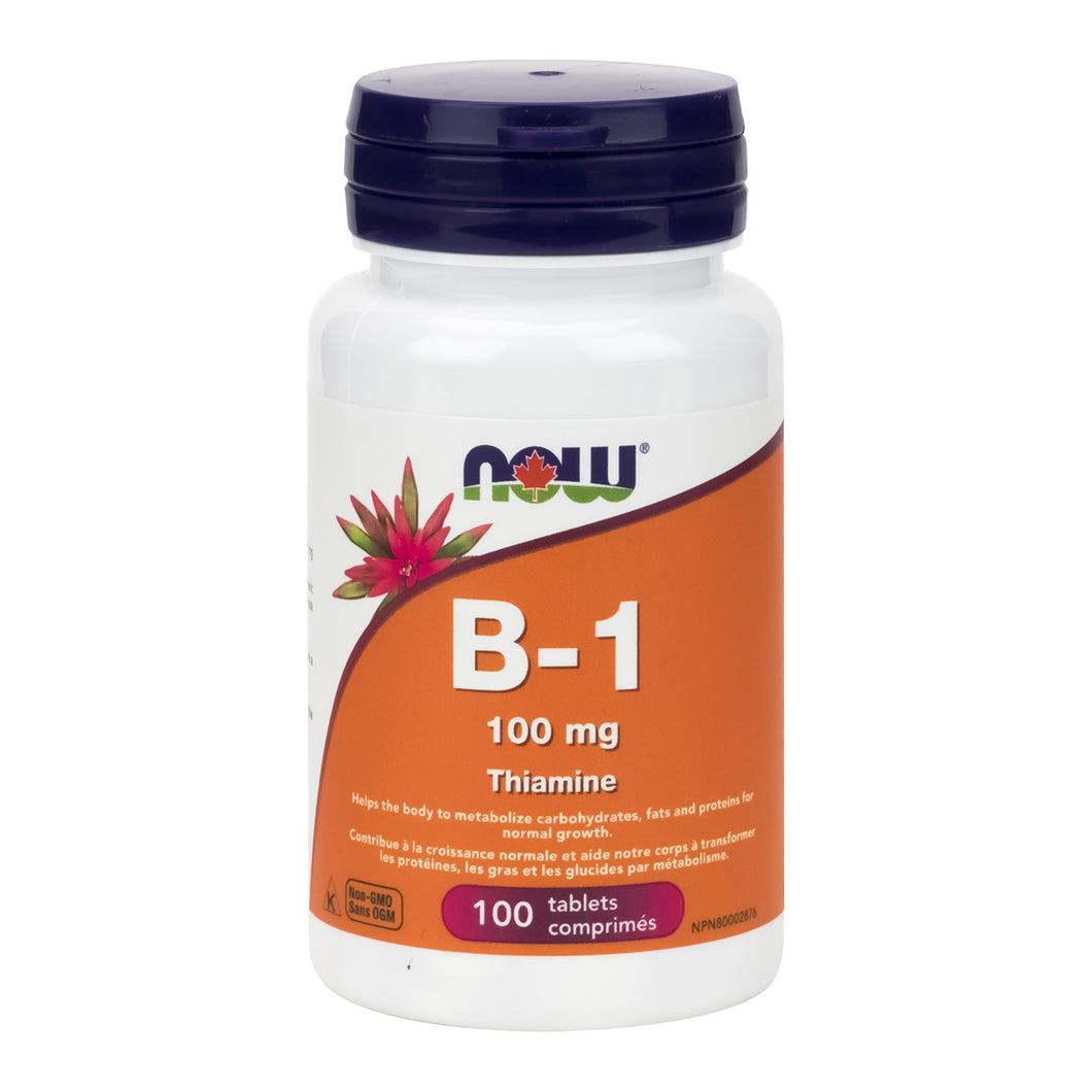 Bottle of NOW 100mg Strength B-1 (Thiamine)