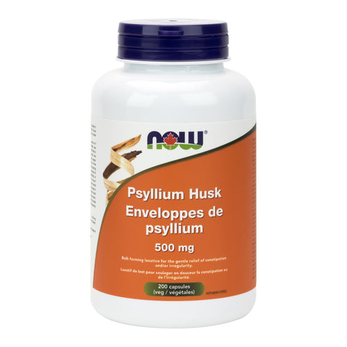 Bottle of 200 NOW Psyllium capsules