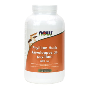 Bottle of 500 NOW Psyllium capsules