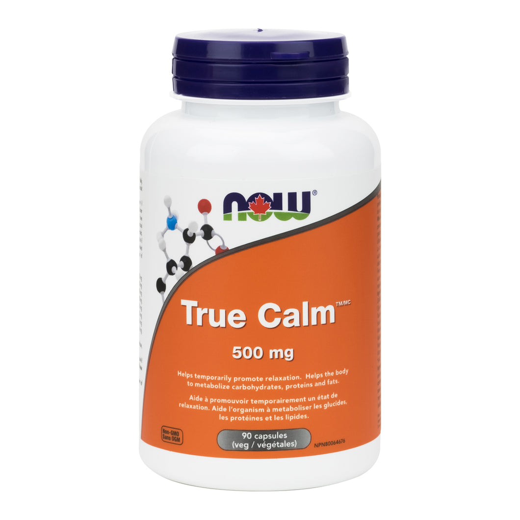 Bottle of NOW True Calm capsules