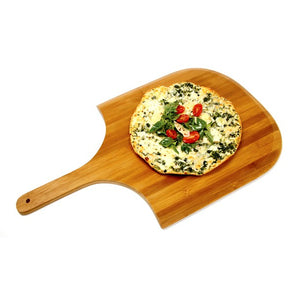 Norpro Bamboo Pizza Peel or Paddle in use