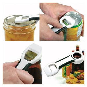 4 panel photo of Norpro GripEZ 4 in 1 Bottle Opener uses