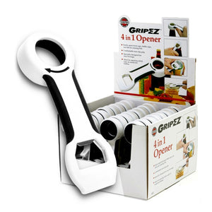 Norpro GripEZ 4 in 1 Bottle Opener, and a display case of them