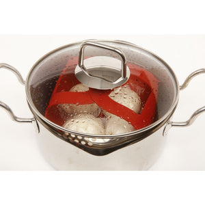 Norpro Silicone Steamer Basket with locking handles in use