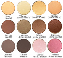 Load image into Gallery viewer, a selection of Pure Anada Pressed Mineral Eye Colors, labeled