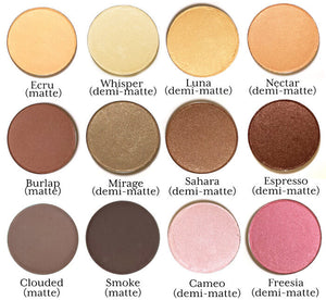 a selection of Pure Anada Pressed Mineral Eye Colors, labeled
