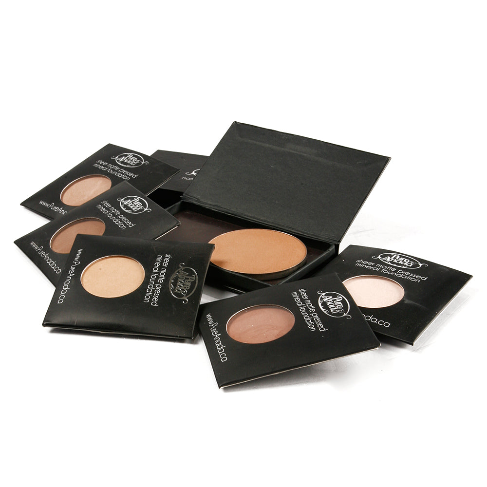 Pure Anada Sheer Matte Pressed Mineral Foundations, in cardboard sleeves