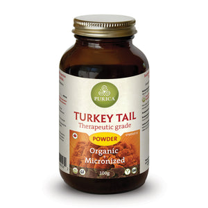 bottle of Purica Turkey Tail (Coriolus) powder