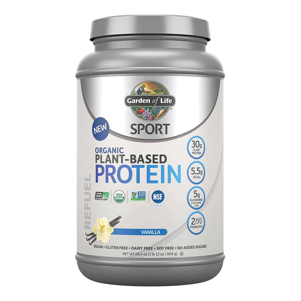 Garden of Life SPORT Organic Plant-Based Protein, Vanilla flavour (US label)