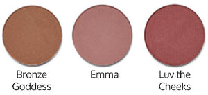3 shades of Sappho New Paradigm Blush, labeled