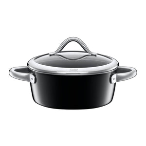 Silit 22cm Diameter Vitaliano Low Casserole Pot, Nero