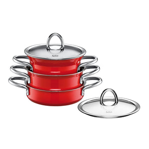 Silit 3 Piece Energy Red miniMax set, stacked together