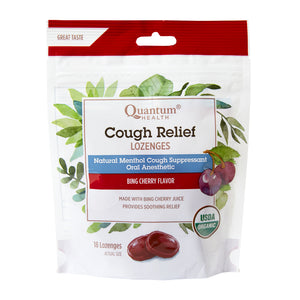 bag of Quantum Health Cough Relief Lozenges, Bing Cherry Flavour